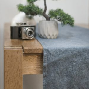 Dark Grey linen table runner
