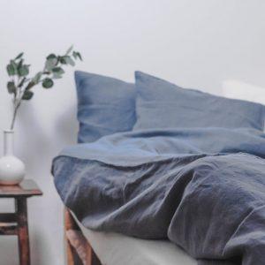 Dark Grey Washed Linen Duvet Cover