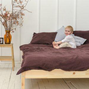 Linen Bedding Set in Deep Purple (1 Duvet Cover + 2 Pillowcases)