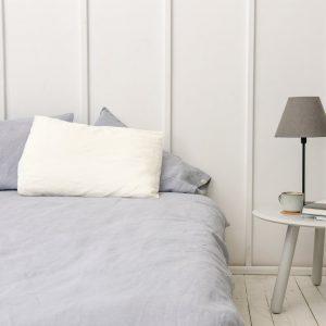 Linen Bedding Set in Light Grey (1 Duvet Cover + 2 Pillowcases)