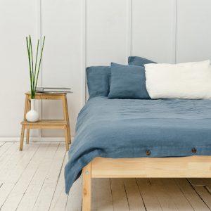Linen Bedding Set in Dark Grey (1 Duvet Cover + 2 Pillowcases)